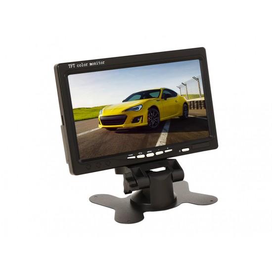 7-инчов TFT LCD монитор за връзка с камера за паркиране, DVD, VCR, CCTV с 2 видео входа